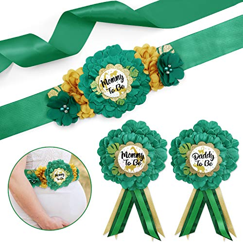 Safari Jungle Animals Maternity Sash Mommy to Be Daddy to Be Corsage Set Gold Greenery Sash and Pins Set for Jungle Safari Baby Shower Gender Reveal Keepsake Photo Props Pregnancy Flower Belly Belt