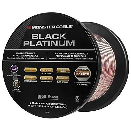 Monster - Black Platinum XP Clear Jacket 50' Spool In-Wall Compact Speaker Cable - Clear/Copper
