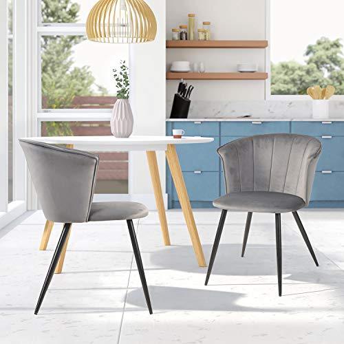 FurnitureR Juego de 2 sillas de Comedor de Terciopelo Sillas de Ocio Modernas de Mediados de Siglo Sillas de reposabrazos tapizadas con Patas de Metal para Sala de Estar Gris