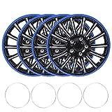 Radschützer (4er Pack) Radkappen, 4 Stück 15 Zoll Radnabenkappe Schnappverschluss für Radkappen Abdeckung Schwarz + Blau Passend...