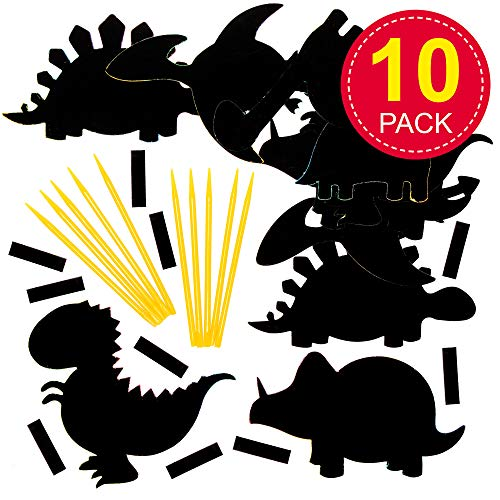 Baker Ross EV254 Dinosaur Scratch Art Fridge Magnets-Pack of 10, for Kids to Design, Create and Display for Crafts Projects, Black