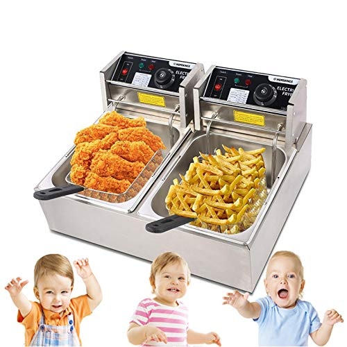ZOKOP EH82 Double Deep Fryer Thickened Cylinder Electric Deep Fryer 2 Baskets, Stainless Steel Chicken Chips Fryer for French Fries Home Kitchen Restaurant Countertop Food Cooking, 12.7QT/12L 5000W MAX Silver