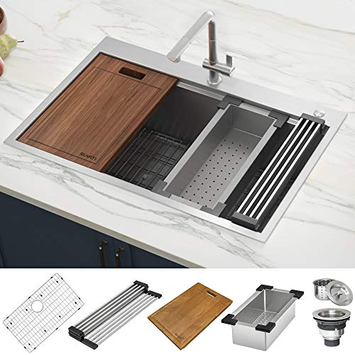 Ruvati 30 x 22 inch Workstation Drop-in Tight Radius Topmount 16 Gauge Ledge Stainless Steel Kitchen Sink Single Bowl - RVH8030