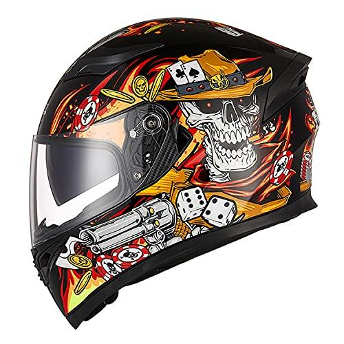 STZYY Casco Integrale da Uomo E da Donna per Casco Integrale da Motociclista Quattro Stagioni: Red Fire Gunner