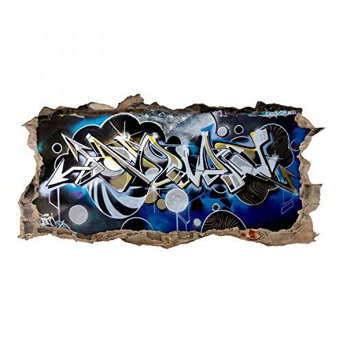 nikima Schönes für Kinder 148 Wandtattoo Graffiti blau grau - Loch in der Wand - in 6 Größen - Cooles Wandbild Wanddeko Teenager Jugendzimmer - Größe 1250 x 630 mm