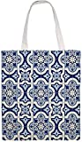MODORSAN Arabesque Gorgeous White Blue Shoulder Bag Canvas Tote Bag, Bolsas de tela reutilizables para compras de comestibles, Bolsos de mano con impresión de doble cara
