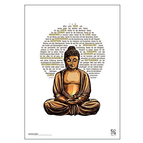 Songshape Dankbarkeit Buddha Bild 30 x 42 cm - Buddha Wandbild DIN A3 | Raum und Bescheidenheit | Bilder mit Buddha | Buddha Deko