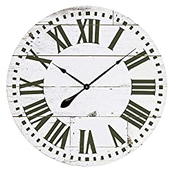 Aspire Lisette French Country Shiplap Face Wall Clock, White