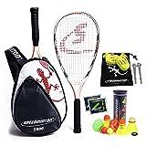 Speedminton S900 Set-Velocidad Original Badminton/crossminton Profesional con 2 Raquetas de Carbono Incl. 5 Speeder, Campo de Juego, Bolsa, Unisex-Adult, Red/White/Grey
