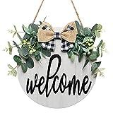 LOMOHOO Cartello di benvenuto per porta d'ingresso, decorazione porta anteriore, decorazione portico anteriore, cartello rustico in legno, ghirlanda di benvenuto per portico