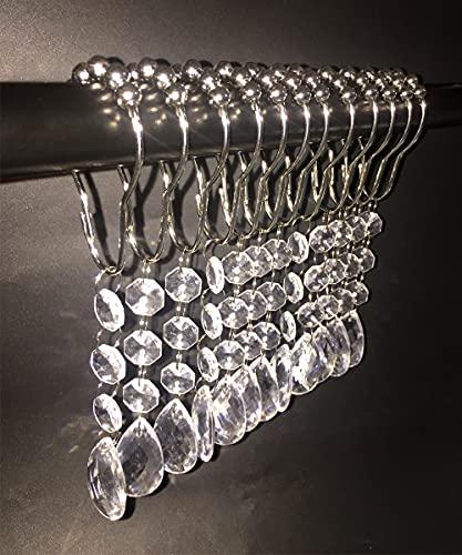12 ganci per tenda da doccia 304 in acciaio inox a prova di ruggine grucce per tenda da doccia in acrilico e vetro da bagno, stile elegante