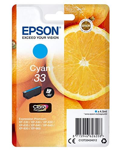 Epson 33 Serie Arancia Cartuccia Originale Getto d'Inchiostro, Ciano, con Amazon Dash Replenishment Ready