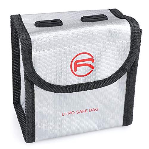 Hensych Markierbare Batterietasche, explosionsgeschützte LiPo-Safe Tasche,Aufbewahrung,feuerfeste Schutzhülle für D-J-I FPV Combo/Mavic Air 2/Air 2S Drohnen-Zubehör [Keine Batterie] (für 2 Batterien)