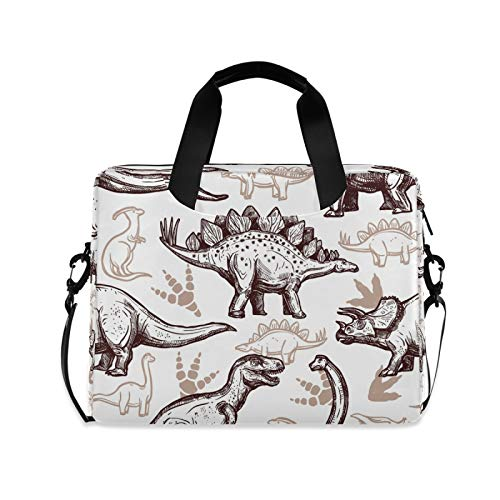 OOWOW Laptop Bag for Women Men Vintage Dinosaur Pattern Lightweight Briefcase 14 15.6 16in Laptop Sleeve Case Computer Shoulder Messenger Bag