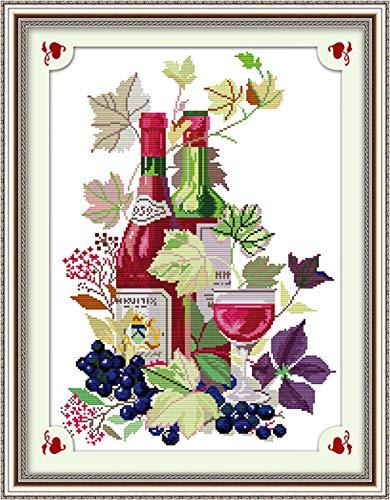 kit de punto de cruz Vida útil de la copa de vino 43cm × 59cm kit de punto de cruz DIY bordado kit con sello preimpreso, DMC costura fácil principiantes manualidades