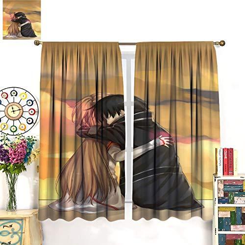 DRAGON VINES Sword Art Online Cortinas SAO Kirito Kirigaya Kazuto Yuuki Asuna Cartoon Cortinas de dormitorio para niños, cortinas preparadas en la sala de estar, 107 x 160 cm