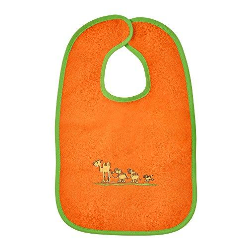 Mauz by wörner bébé de sable et caravane dans le désert orange bavoirs, serviettes de bain et gant de bain poncho, orange, Riesen-Klettlätzchen 30x45 cm