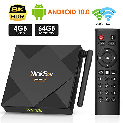Android 10.0 TV Box 4GB RAM 64GB ROM, NinkBox N6 Plus TV Box Android H616 Quad-Core 64bit Dual-WiFi 2.4GHz/5GHz, 3D Ultra HD 4K H.265 USB 2.0 BT 4.0 Android Box