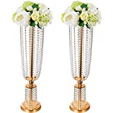"""VEVOR Wedding Centerpieces 2pcs Rose Gold Crystal Centerpieces for Wedding Table 31.5"""" Height Bling Centerpieces for Wedding Flower Stands Candle Holder Flower Rack Party Kitchen Decor"""