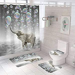 XVWJ 4 Pcs Elephants Shower Curtains The Elephant Puffs Colorful Bubbles Shower Curtains with Non-Slip Rug, Toilet Lid Cover and Bath Mat,Animals Shower Curtain for Girls with 12 Hoods