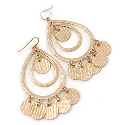 Gold Tone Hammered Coin Oval Double Hoop Earrings - 75mm L