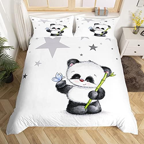 Loussiesd Panda Drucken Bettwäsche Set 135x200cm für Baby Kinder Mädchen Bettbezug Cartoon Tiere Dekorativ Atmungsaktiv Mikrofaser Betten Set Weiß schwarz mit 1 Kissenbezug 80x80cm