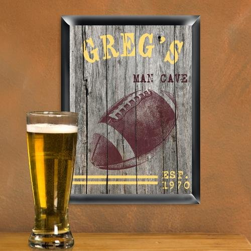 Creative Structures Personalized 12' Collectible Traditional Series - Football, Gridiron - Sports Man Cave, Den, Home Bar, Lounge, Pub Sign - Rugged, Vintage Weathered Wood Look Background