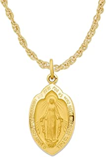 24K Gold Plated 925 Sterling Silver Polished Miraculous Virgin Mary Double Sided Shield Pendant Necklace Medals Gifts for Women and Men