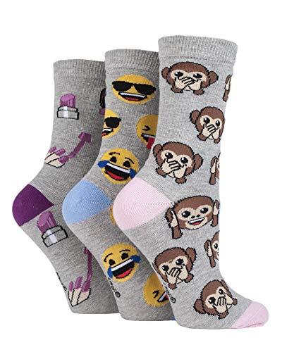 Damen 3 Paar SockShop Emoji Affe, Gesicht und Lippenstift Baumwollsocken - Grau 37-40