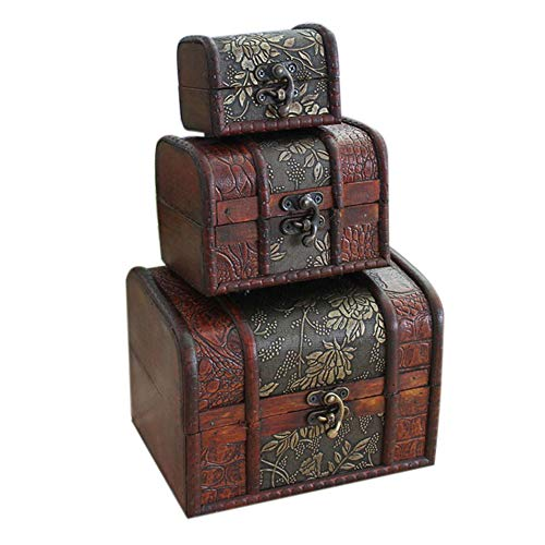 Hofumix Jewelry Boxes Wooden Treasure Box Vintage Treasure Chest Handmade Box Rings Case with Metal Lock for Storing Jewelry Treasure Pearl Cosmetics 3PCS(S,M,L)