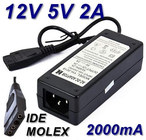 TOP CHARGEUR * Adaptador Alimentación Cargador Corriente 12V 5V 2A 2000mA Reemplazo Recambio MOLEX IDE para Disco Duro HDD