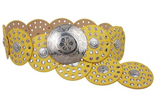 Damen Gürtel, 90 mm breit, Boho-Scheibe, Concho, Leder Gr. M/107 cm, gelb