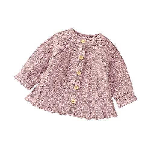 Loalirando Baby Mädchen Langarm Pullover Niedliche Winter Warme Strickjacke Cardigan mit Knöpfen (Pink, 3-6 Monate)