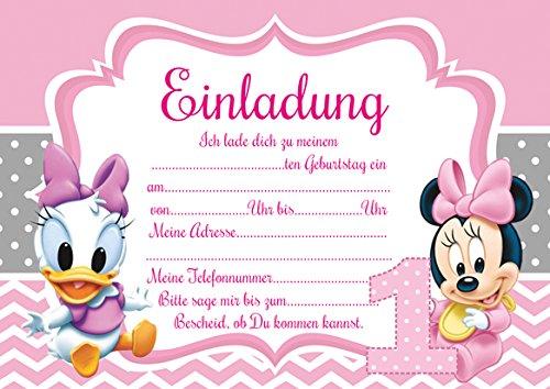 10 Einladungen zum Kindergeburtstag Baby Mickie and Minnie Mouse (mit weißen Umschlägen)