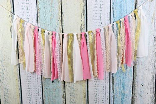 Lace Tassel Garland Fabric Garland Rag Tie Garland Shabby Chic Blush banner Wedding Backdrop Wedding Decor Baby Shower Party Decor Home Decor Wall Hanging Bedroom Decor 4Ft