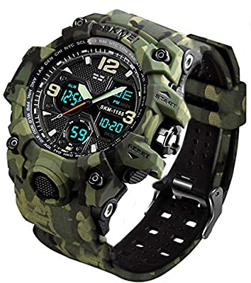 Men's Analog Sports Watch, LED Military Wrist Watch Large Dual Dial Digital Outdoor Watches Electronic Malfunction Two Timezone Back Light Water Resistant Calendar Day Date - Black
