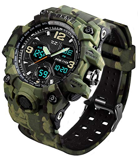 MJSCPHBJK Men's Analog Sports Watch, LED Military Wrist Watch Large Dual Dial Digital Outdoor Watches Electronic Malfunction Two Timezone Back Light Water Resistant Calendar Day Date