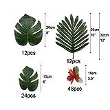 PietyDeko 96 Stück Tropische Palmblätter und Hawaiian Blumen für Dekorationen - 3