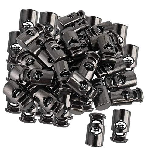 YeVhear - 50 cierres de cierre de resorte con cierre de resorte monomomando de cierre de cuerda para cordeles, cordones, bolsos, acampada, color plateado y negro