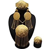 ABAIHSMOON Gold Jewelry Sets African Dubai Middle East Women Weding Necklace Earrings Set for Valentine Jewelry Gifts Design Perfect for Universality, Prom,Bridal
