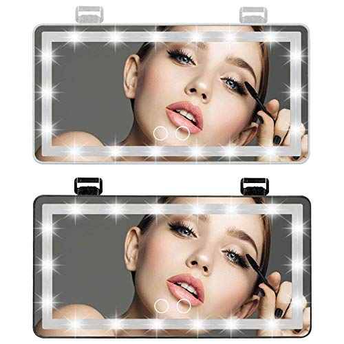 MUSJOS Espejo vanidad Visera automóvil, Espejo Maquillaje para automóvil con 4 Modos luz actualización 60 Luces LED, Espejo Visera Regulable Pantalla táctil Inteligente (WhiteBlack,USB)