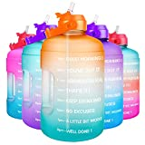 6. QuiFit Half Gallon Water Bottle - with Straw & Motivational Time Marker Leak-Proof BPA Free Reusable Gym Sports Outdoor Large(73OZ) Capacity Water Jug(Orange/Green Gradient,Half Gallon)