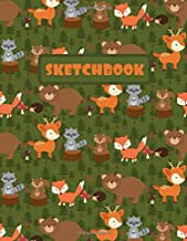 SKETCHBOOK: LARGE ANIMAL SKETCHBOOK TO DRAW IN. LARGE JOURNAL NOTEBOOK. 100 BLANK PAGES PERFECT FOR DOODLING AND SKETCHING. CREATIVE BIRTHDAY GIFT. ... HEDGEHOG, SQUIRREL, RACCOON AND DEER COVER.