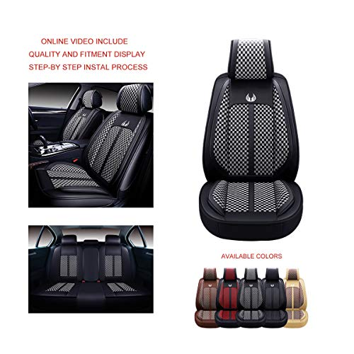 OASIS AUTO OS-007 Leather Car Seat Covers, Faux Leatherette Automotive Vehicle Cushion Cover for Cars SUV Pick-up Truck Universal Fit Set for Auto Interior Accessories (Full Set, Grey)