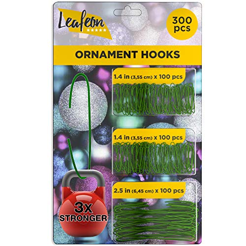 Leafeon 300 Pack Christmas Ornament Hooks for Christmas Tree Decoration – The Best Holiday Ornament Hangers (Green)