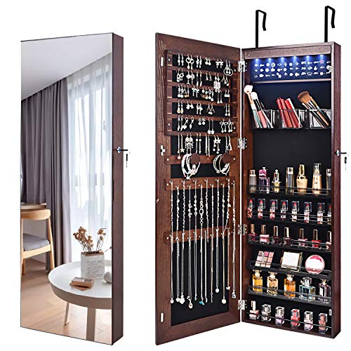 OUTDOOR DOIT 6 LED Lights Solid Wood Frame Lockable Full mirror jewelry organizer wall mounted/door mounted Jewelry Box For Women/jewelry cabinet jewelry armoire (Brown)