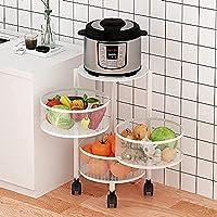 収納ラックキッチンフルーツ野菜ラック3/4/5ティアキッチン回転野菜ラックローリングカートのフロアスタンド多機能オーガナイザートロリー棚のためのリビングルームキッチントイレ (Color : A-white, Size : 3Tier)