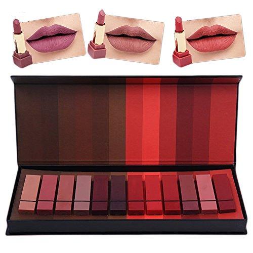ROMANTIC BEAR Matte imperméable Rouge à lèvres, Cosmétiques Kit sexy Lip Gloss Kit de coffret cadeau rouge à lèvres