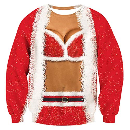 RAISEVERN Womens Ugly Christmas Sweater Funny Sex Design Fake 2 Pieces Pullover Sweatshirt Red 2,XXL