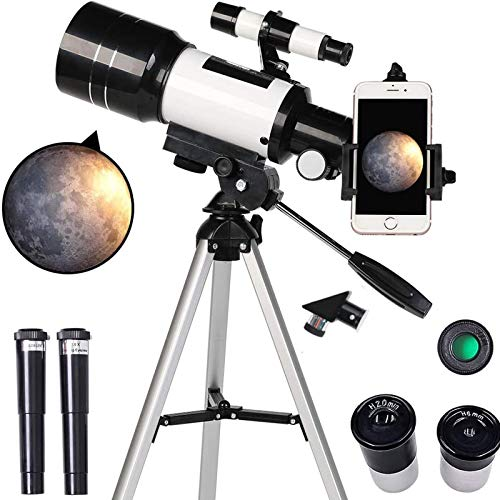 TZUTOGETHER Telescopio para Principiantes Portátil 150X-15X,telescopio astronómico monocular de Gran diámetro,telescopio Refractor HD de 70mm para astronomía con trípode,Visor buscador